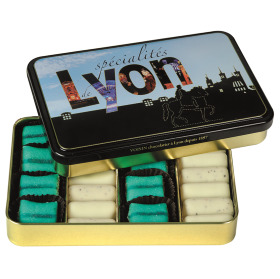 Assortments of Cushion and Dumplings of Lyon in Design Metal Box 22cts